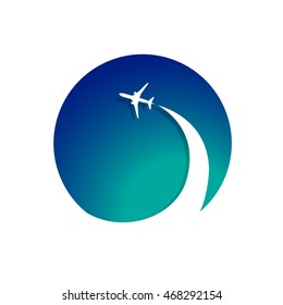 Airplane with airplane stream jet. Illustration for logo, poster, print and web projects travel agencies, aviation companies. Raster version