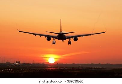 Airplane sunrise landing.