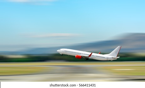 Airplane take off. Motion blur effect.