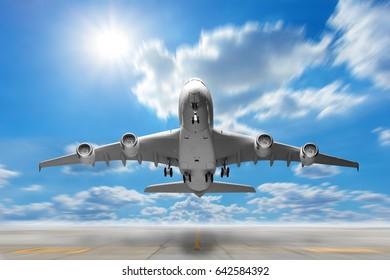 Airplane takeoff to the beautiful sky