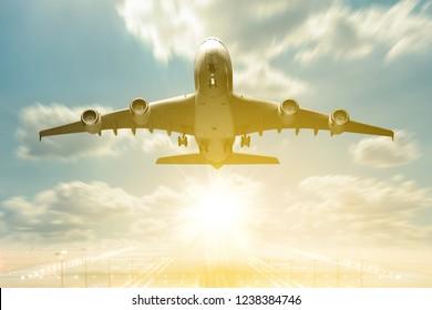 Airplane takeoff to the beutiful sunrise sky