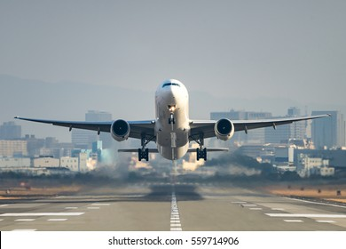 Airplane taking off from the airport.
