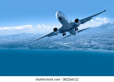 Airplane taking off from airport - Passenger airplane is flying over amazing mountains and sea  - Travel by air transport