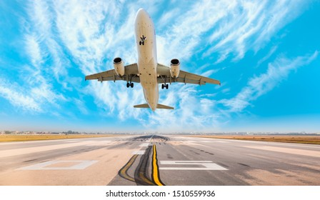 Airplane taking off from airport runways