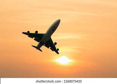 airplane taking off airport sky-diving industry cargo business,concept : passenger   journey travel  tourism  freedom