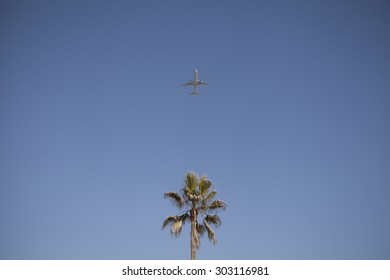 Airplane taking off from LAX airport in Los Angeles