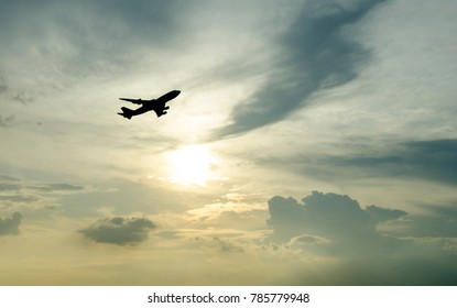 The airplane taking off to the sky