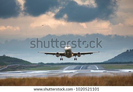 Airplane taking off in