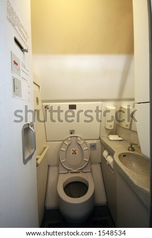 airplane toilets aboard a jetliner