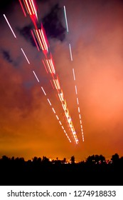 Airplane trails and trajectory manipulation photo at night view