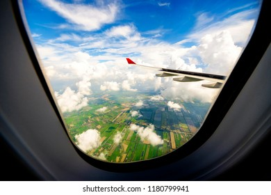 Airplane travel looking to the agricultural area : Thailand.