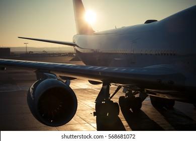 a airplane turbine, sunset