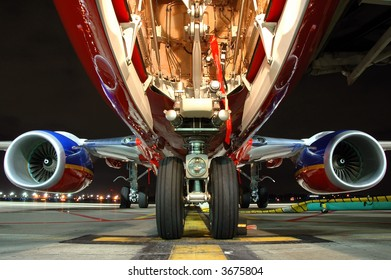 Airplane view from landing gear at night