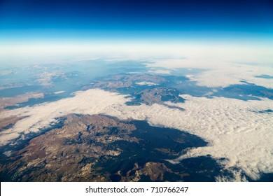Airplane View Of Planet Earth Horizon
