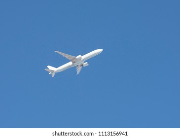Airplane, white aircraft on the blue sky