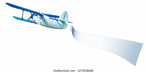 airplane with a white banner against a white background