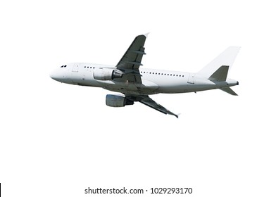 Airplane with white blank livery and two engines in flight isolated on white background