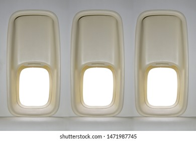 Airplane window classic design isolated on white background. This has clipping path.