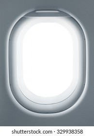Airplane window from interior of aircraft. Business travel template for your ideas of view through porthole with clipping path