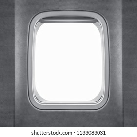 Airplane window isolated on white background with copy space