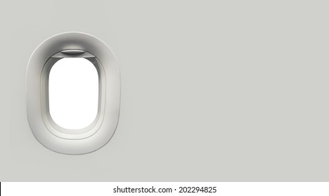 Airplane window and place for text