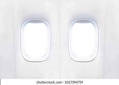 Airplane window with place for text, portholes of airplane from white plastic with open