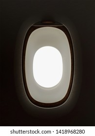 Airplane window with white background for outside the plane view