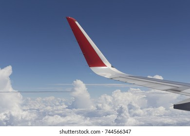 Airplane Wing in Flight from window.Airplane Wing