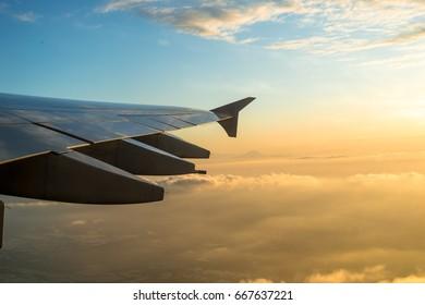 Airplane Wing and Mount Fuji
