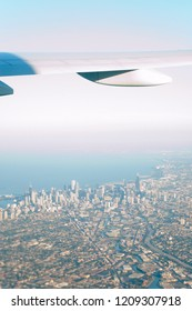 Airplane Wing over Chicago