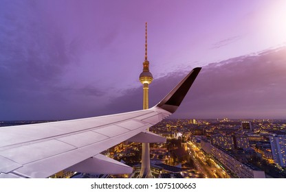 Airplane Wing with Skyline of Berlin, Germany