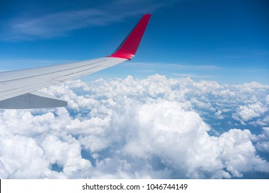 airplane wing view , travel by plane