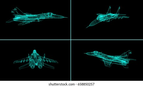 Airplane wire model isolated on black  - 3D Rendering