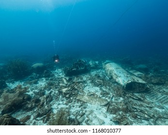Airplane wreck in coral reef around Curaçao - Caribbean Sea - Dutch Antilles