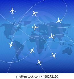 Airplanes with airplane stream jet and paths. Illustration for   poster, print and web projects travel agencies, aviation companies. Raster version