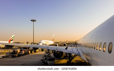 The airplanes of Emirates airlines were parked at Dubai International Airport in the morning, Dubai, March 2017