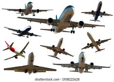 Airplanes flying, collection isolated on white background