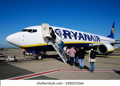 Airplanes of ryanair's low cost company sits on tarmac in Leonardo da Vinci International Airport in Fiumicino, Italy on April 26, 2019