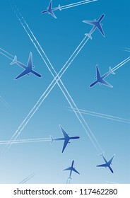 Airplanes on blue background with white lines. Isolated design element. Stylized  Illustration.