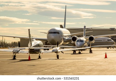 Airplanes parked on a tarmac ramp