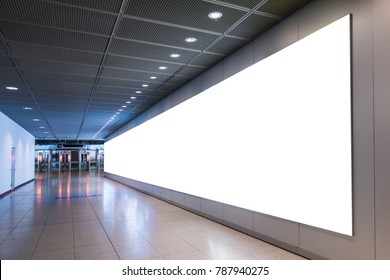 Airport Advertisement Huge Wall Format Mockup White Modern Contempary Architecture