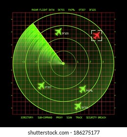 Airport Air Traffic Control Radar Screen with Planes on a Grid.