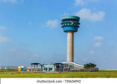 Airport Air Traffic Control Tower Airport King Shaka , Durban - South-Africa - 8 Oct - 2017 : Airport air traffic control tower for planes in countryside landscape.