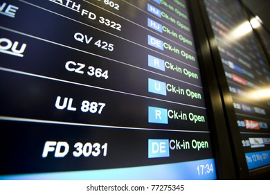 Airport Arrivals, Departure Board (selective focus)
