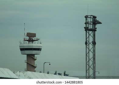 Airport ATC, jet bridges, and terminal