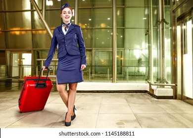Airport background and stewardess