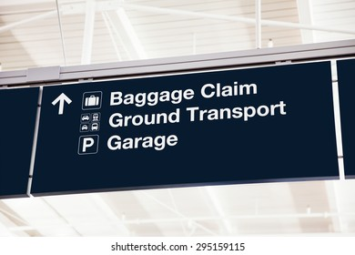 Airport baggage claim sign with Ground Transport and Garage
