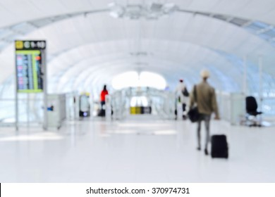 Airport blur background with traveling passenger