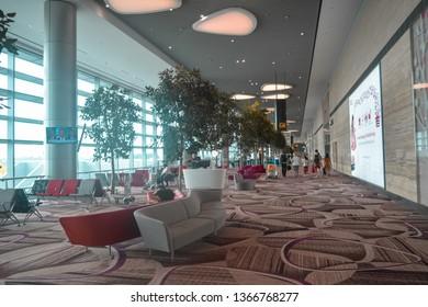 Airport Blvd, Singapore - January 29, 2019: Departure lounge Changi aiport terminal 4
