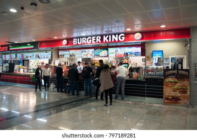 Airport Burgerking shop in the waiting area. Sabiha Gokcen Airport. Pendik. Istanbul. Turkey. December 2017.